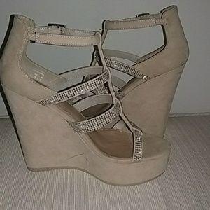 Also rhinestone  wedge sandals